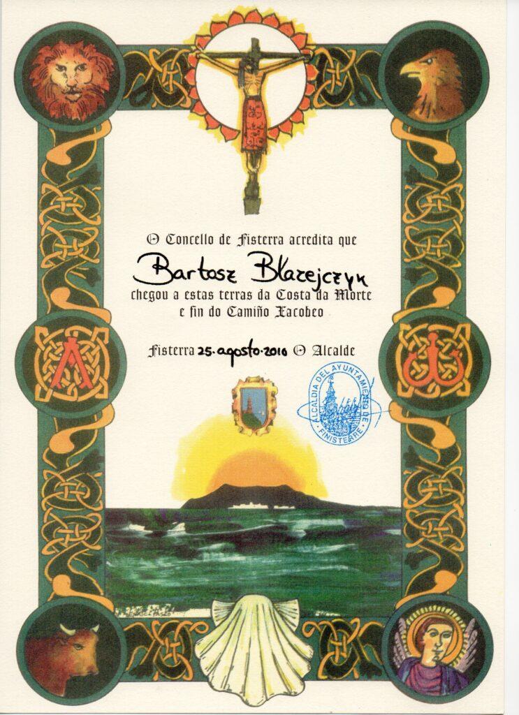 Certyfikat pielgrzyma za dojście na Finisterre - koniec świata