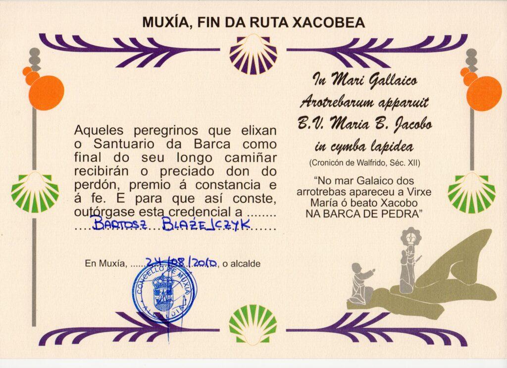 Certyfikat pielgrzyma za dojście do Muxii