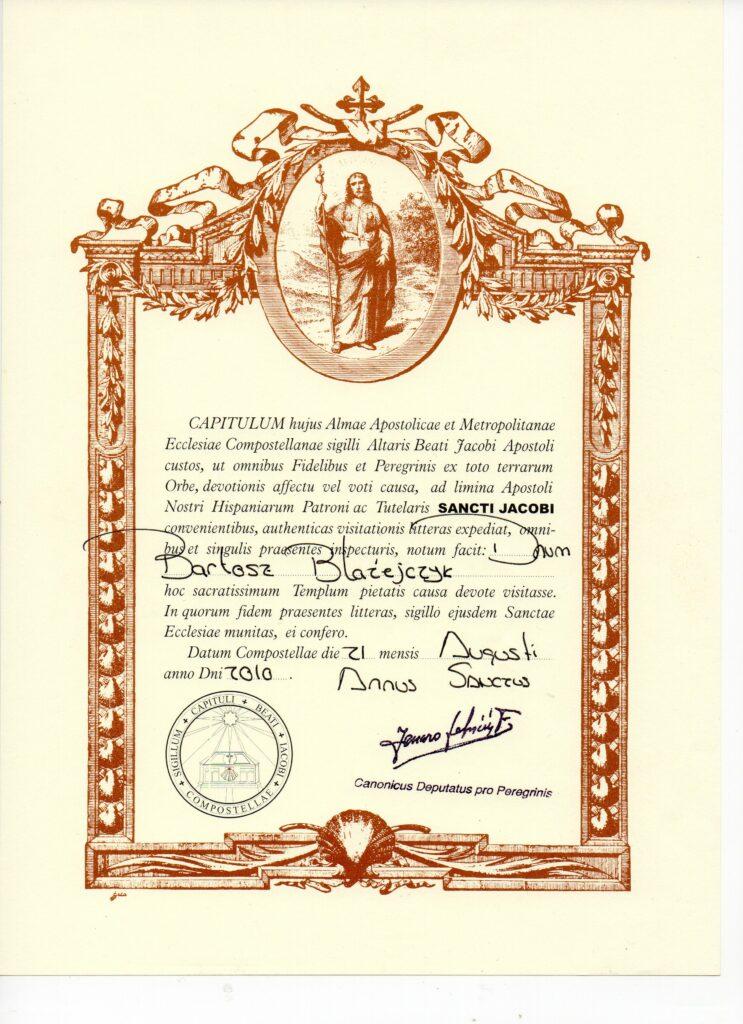 Certyfikat pielgrzyma za dojście do Santiago de Compostela